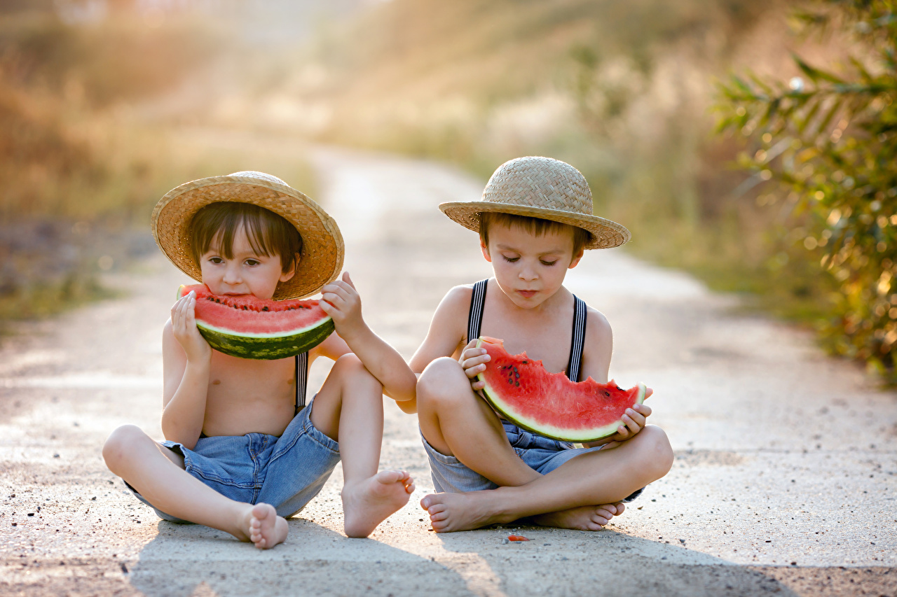 Watermelons_Boys_Two_Sitting_Hat